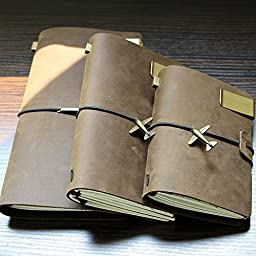 New Top Genuine Leather Cover Case Journal Book Diary Sketchbook Binder Notebook Color:Coffee Size:Large