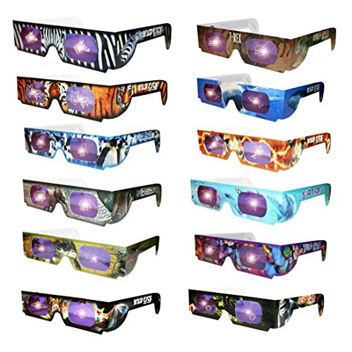 Holographic Wild Eyes Animal 3D Glasses Set of 12