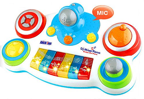 DJ Music Mixer Piano with Microphone for Kids