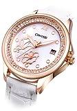 Comtex レディース時計 ホワイト カレンダー アナログ ウオッチ 女性 クォーツ 腕時計 かわいい