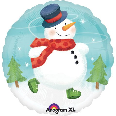 "Happy Holidays 18"" Round Snowman Skating Christmas Party Mylar Foil Balloon - 1"