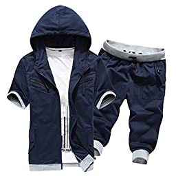 Men\'s Summer Short Sleeve Hoody with Pants Set (3 Styles and 10 Colors)