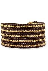 Chan Luu Gold Tone Wrap Bracelet on Brown Leather
