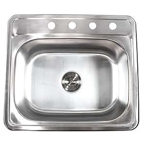 25 Inch Top-Mount / Drop-In Stainless Steel Kitchen Island / Bar Sink