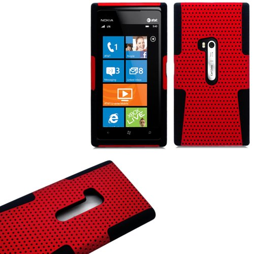 Mylife (Tm) Scarlet Red And Shocking Matte Black Perforated Mesh Series (2 Layer Neo Hybrid) Slim Armor Case For The Nokia Lumia 920, 920.2, 920T And 920 4G Camera Smartphone By Microsoft (External Rubberized Hard Shell Mesh Piece + Internal Soft Silicone