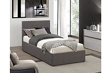 Stilvolle 3 Ft Single Grau Stoff Ottoman Bett mit 25 cm Memory Foam Matratze FTA