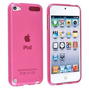 eForCity TPU Rubber Skin Case compatible with Apple® iPod Touch® 5th Generation, Frost Clear Hot Pink