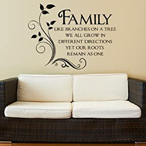 Family Like Branches on a Tree Quote Words Wall Sticker
