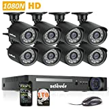 Zclever 8 Outdoor 1080N HD 1200TVL Home Security Camera System with 8 Channel 1080N AHD Surveillance DVR with 1TB Hard Drive