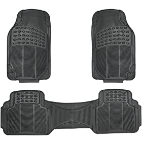 OxGord Universal Fit 3-Piece Full Set Ridged Heavy Duty Rubber Floor Mat - (Black)