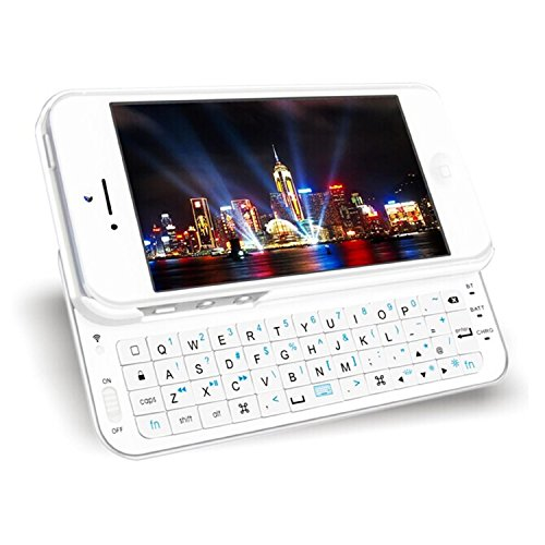 HIGHOT Ultra-Thin Slide-Out Wireless Bluetooth Keyboard Back Case with Backlight for 4.7inch Iphone 6 (White)