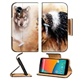 LG Google Nexus 5 Flip Case young indian woman wearing a gorgeous feather headdress with wolves IMAGE 36963542 by MSD Customized Premium Deluxe Pu Leather generation Accessories HD Wifi Luxury Protect