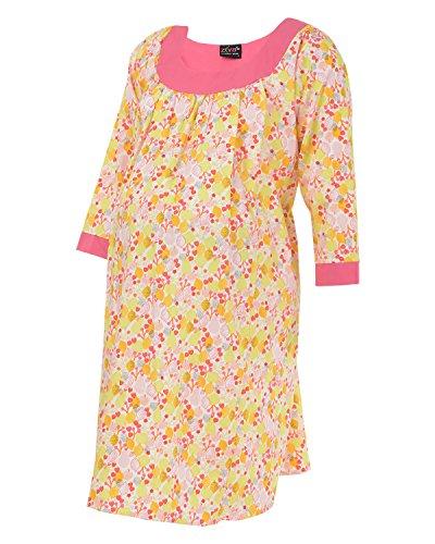 Ziva Maternity Wear Women's Cotton Round Neck Kurta (ZMN1010_ Pinkyoke_L, Orange and Yellow, L)
