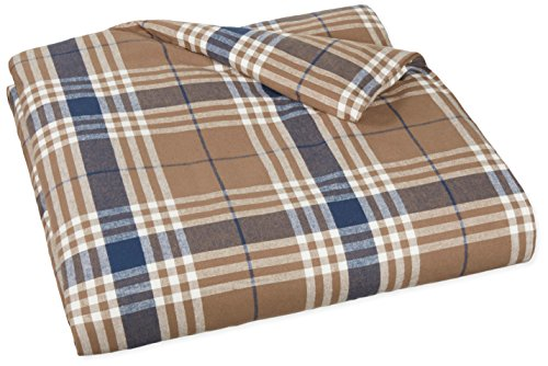 AmazonBasics Yarn-Dyed Lightweight Flannel Duvet Cover - Twin, Brown Plaid (Flannel Duvet Cover Twin compare prices)