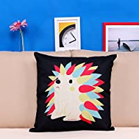 """Littlekelly Cotton Linen Square Decorative Cushion Cover Sofa Throw Pillowcase 18"""" x 18"""", Hedgehog from Littlekelly"""