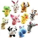 Liroyal 10Pcs Velvet Animal Style Finger Puppets Set,Plush toys