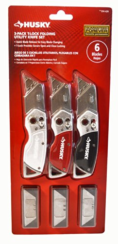 Husky 3 Pack T Lock Folding Utility Knife Set 9 Blades