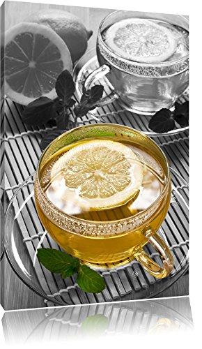 Le thé vert au citron noir / blanc Taille: 80x60 sur toile, XXL énormes Photos complètement encadrées avec civière, impression d'art sur murale avec cadre, moins cher que la peinture ou la peinture à l'huile, pas une affiche ou une bannière,