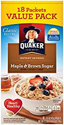 Quaker Instant Oatmeal, Maple Brown Sugar Value Pack, Breakfast Cereal, 18 Packets Per Box (Pack of 4)