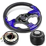 Mitsubishi Eclipse/Lancer/Pickup 320mm 3-Spoke Black/Blue Steering Wheel+Hub Adapter+Quick Release