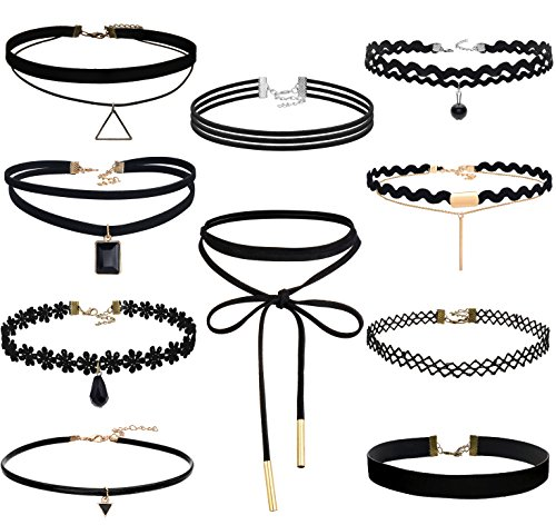 fibo-steel-10-pack-lace-choker-necklace-for-women-girls-choker-necklace-velvet-adjustable-length