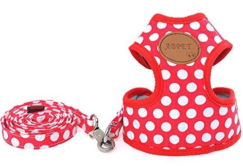 Rant Bell 小型犬 ハーネス リード セット ドット柄 かわいい 肉球 (赤 M)