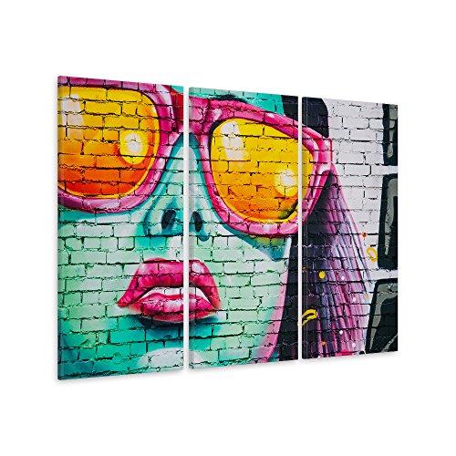 leinwandbild graffiti frau 3 teilig kunstdruck pop art fotoleinwand handgefertigt wanddekoration. Black Bedroom Furniture Sets. Home Design Ideas