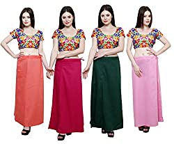 Pistaa combo of Women's Soft Cotton Peach, Dark Pink, Dark Green and Pastle Pink Color Best Stylish Readymade Inskirt Saree petticoats
