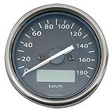 デイトナ(DAYTONA) 電気式スピードメーター(ホワイトLED照明/液晶パネル) 180km/h ブラックパネル ステンリム/ブラックボディ デジタルツインTRIP 63808