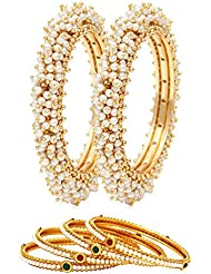 Jewels Galaxy Traditional Pearl Combo Bangle Jewellery - Pack Of 6
