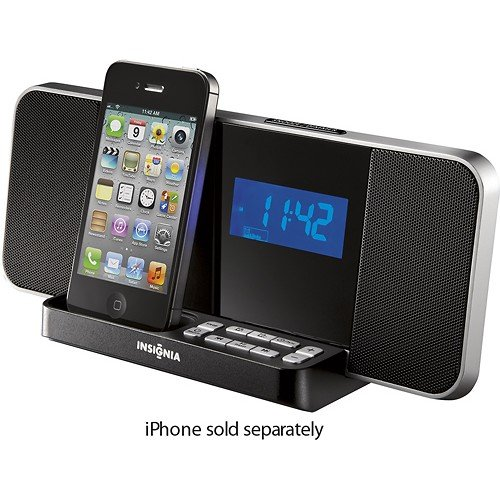 insignia ns clip02 am fm digital alarm clock radio ipod iphone 4 4s dock ho. Black Bedroom Furniture Sets. Home Design Ideas