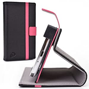 Cush Cases [PASSPORT EDITION] PU Leather Case for the Amazon Fire Smartphone - Black / Hot Pink
