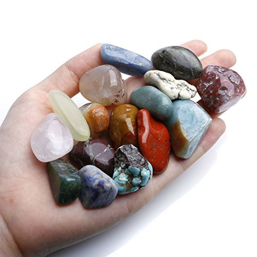 Top Plaza Mineral Rock Variety Tumbled Rough Gemstone Meteorite Fragment Healing Energy Crystal Collection Box (18 pcs Tumbled Stones Kit) (Tumbled Stone Chart compare prices)