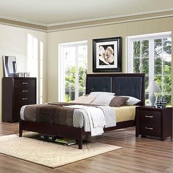 Homelegance Edina 3 Piece Upholstered Headboard Platform Bedroom Set in Espresso Cherry
