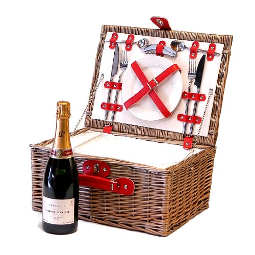 Red Faux Leather Chiller Wicker Picnic Hamper 2 Person