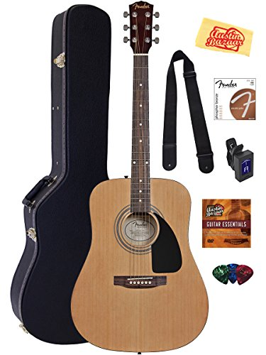 fender-acoustic-guitar-bundle-with-hard-case-stand-tuner-strings-strap-picks-austin-bazaar-instructi