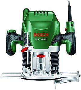 Bosch POF 1200 AE HomeSeries Oberfräse + Nutfräser (Ø 8 mm) + Absaugadapter (1.200 W, max. 28.000 1/min)  BaumarktKritiken und weitere Informationen