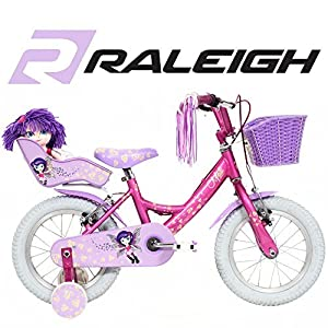 "Raleigh Molli 14"" Pink and Purple Girls Bike with Stabilisers and Dolly Seat - NEW 2015 Model"