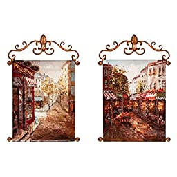 Manual Woodworkers and Weavers Hand Painted Oil Canvas Art, Rue De Paris, Set of 2