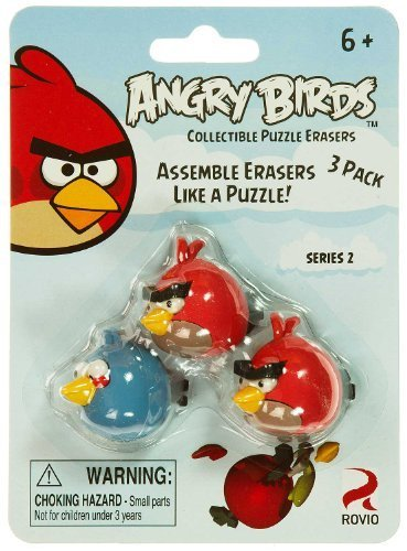 Red Birds & Blue Bird: Angry Birds Collectible Puzzle Erasers Series 2
