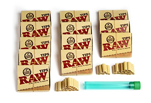 RAW Pre Rolled Tips for Hand Rolled Cigarettes & More - Includes 1 Free BONUS Cigarette Tubes Green - 12 Boxes of 21 Pieces (12) (Gum 99 Cents compare prices)