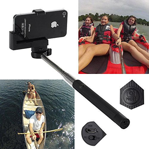Victsing Extendable Camera Selfie Self Portrait Shooting Pole Adjustable Handheld Monopod Mount Holder Built In Bluetooth Camera Shutter Release For Iphone 5S 5C 5 4S 4 Samsung Galaxy S5 S4 S3 S2 Note 3 2 Htc One Lg Sony Xperia Smartphones Ipads