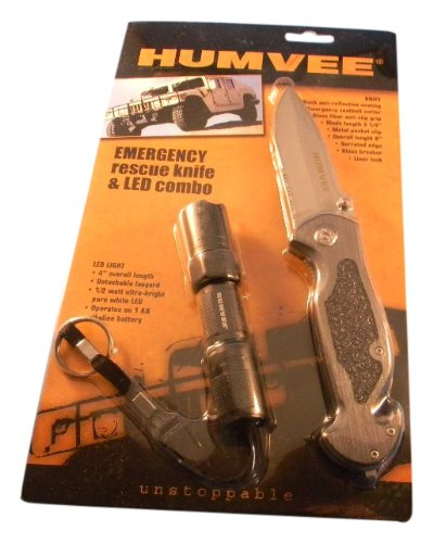 Humvee Hmv-Kc-Er1 Emergency Rescue Knife And Tactical Led Flashlight Set (Piece Of 2, Black/Grey)