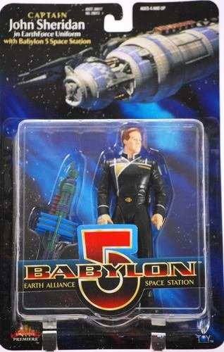 CAPTAIN JOHN SHERIDAN in EarthForce Uniform * 6 Inch * 1997 BABYLON 5 Action Figure and Mini Babylon 5 Space Station - 1