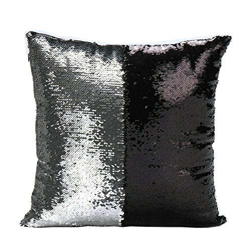 livedeal-two-color-paillette-reversible-sequins-mermaid-pillow-cases-16-x-16-black-and-silver