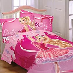 Barbie Ballet Reversible Twin Bedding Comforter and Twin Sheet Set