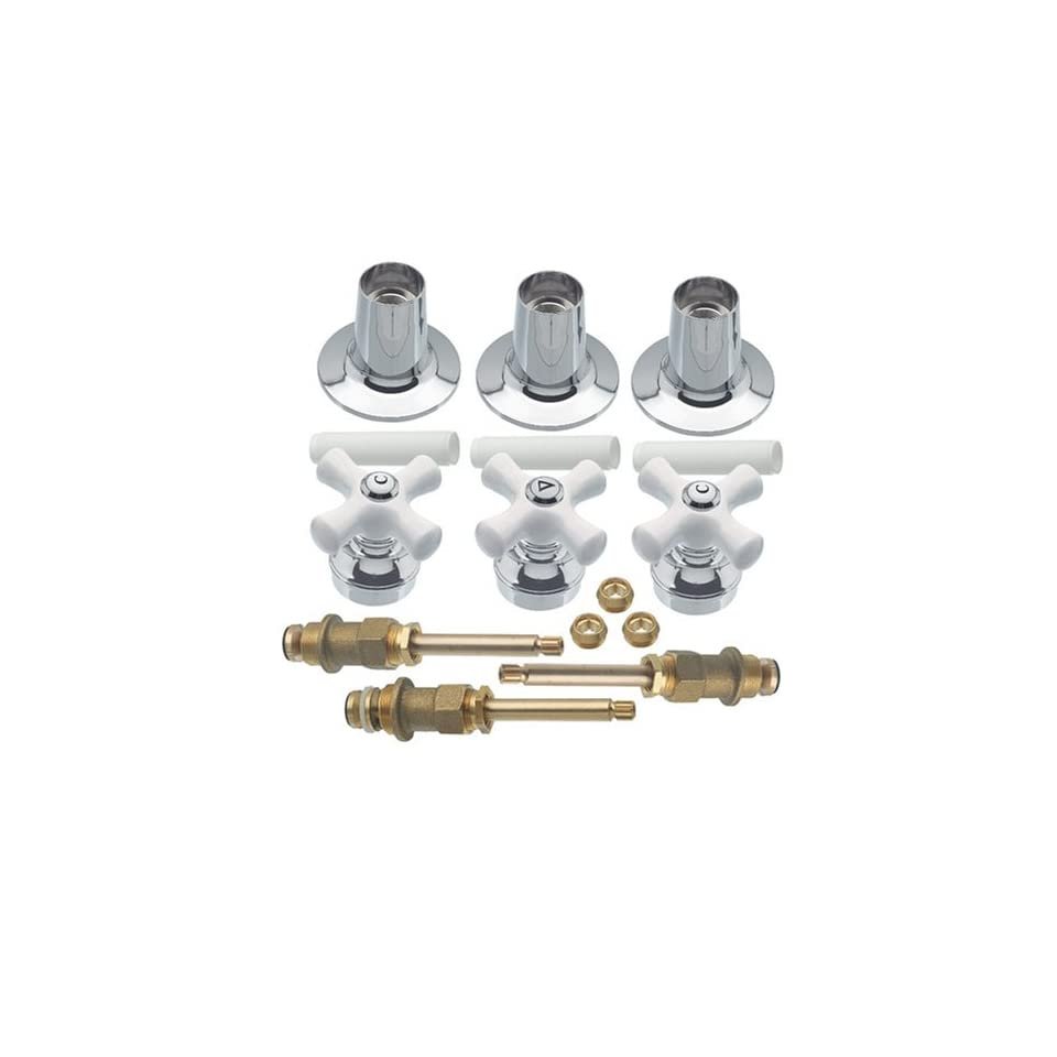 Danco 39696 Trim Kit with Cross Arm Handles for Price Pfister Three Handle Tub/Shower Faucets, Chrome/Porcelain
