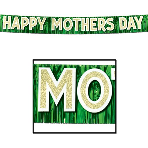 Beistle 57308 Metallic Happy Mother's Day Banner, 10-Inch by 9-Feet 6-Inch