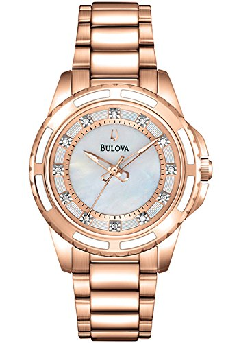 Bulova Women'S Rose-Tone Stainless & Mother Of Pearl Textured Dial Diamond Accent