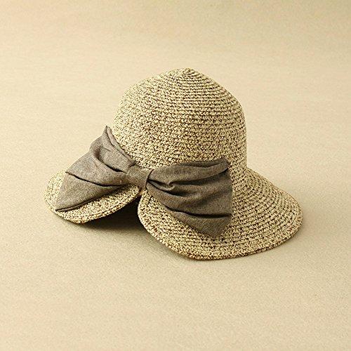1100dd6b329e40 [ノーブランド品]夏 帽子 レディース UV 紫外線対策 折りたたみ リボン 小顔効果 おしゃれ 二色選べる クロッシェ編み 麦わら帽子  (カーキ―ベージュ)